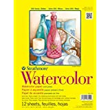 """Strathmore (360-118 STR-360-118 12 Sheet Watercolor Taped Pad, 18 by 24"""", 18""""x24"""""""