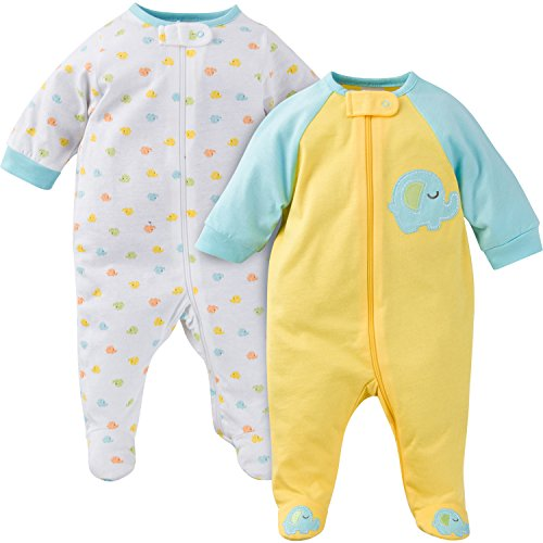 (Gerber Baby Boys' 2 Pack Zip Front Sleep 'N Play, Elephant, 3-6 Months)