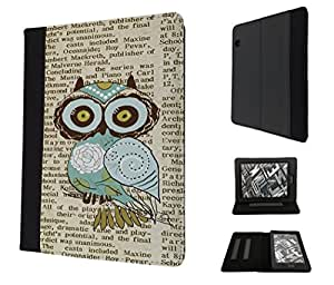 "051 - Cute Owl Vintage newspaper 51 Funky Design Amazon Kindle Voyage 6"" 2014-2015 Models Fashion Trend TPU Leather Flip Case Protective Purse Pouch Book Style Defender Stand Cover"