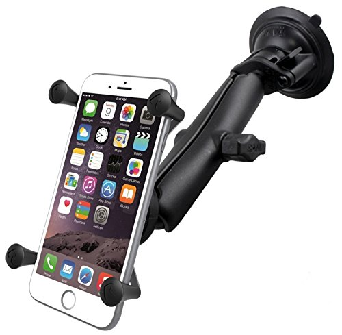 RAM Twist Lock Suction Cup Mount with LONG Length Double Socket Arm & Universal X-Grip Phablet Holder by RAM MOUNTS