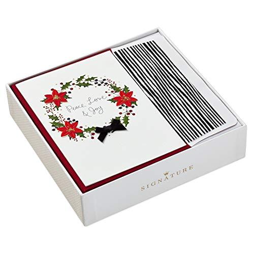 Hallmark Signature Christmas Boxed Cards, Peace Love Joy Wreath (12 Cards with -