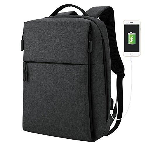 Business-Umhängetasche mit externen USB-Ladeschnittstelle, einfache Mode männlichen und weiblichen Studenten große Kapazität Computer Tasche (schwarz)
