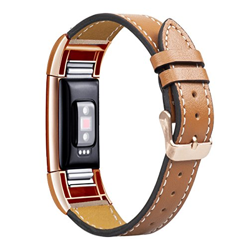 Wearlizer Compatible Leather Fitbit Charge 2 Bands Special Edition Lavender Rose Gold Buckle Replacement Charge 2 hr Band Straps Accessories Small Large Women