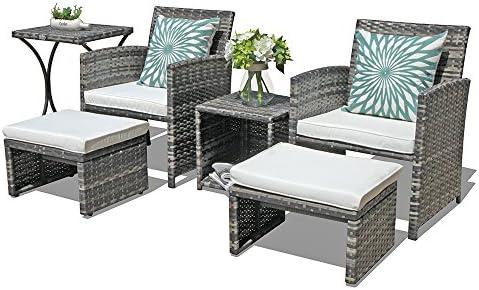 OC Orange-Casual Outdoor Wicker Furniture Set 6 Piece Patio Conversation Chat Set