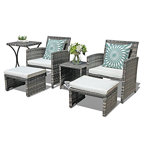 OC Orange-Casual Outdoor Wicker Furniture Set 6 Piece Patio Conversation Chat Set with Ottoman & Storage Side Table | Lawn Pool Balcony