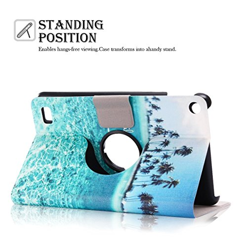 Kindle Fire 7 Case Kindle Fire 7 Cover Genuine PU Leather Flip Case Cover for Amazon KIndle Fire HD 7 2015 Table 360 Rotation Standing Anti Choc Protective Bumper with Life is That Live it Design by Caselover (Image #2)