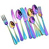 Rayinblue 16 Pcs Tableware Set Colorful Romantic Dinner Set Rainbow Flatware Set