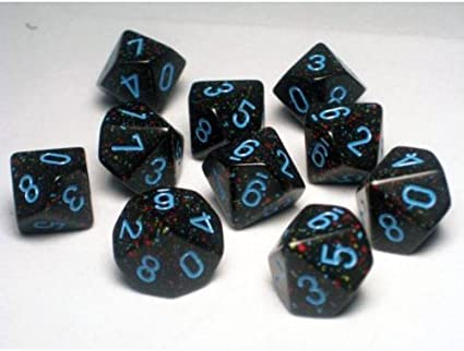 Chessex Speckled Polyhedral dice set Blue Stars numbers 7 die set for any RPG
