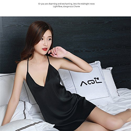 Estate Sexy Summer Silk Color New Ice Gonna Halter ruota Set a Black Black Pigiama Halter Gonna SMC pigiami Sleep Black Donna Dimensione M e Thin Primavera Skirt per 40 70kg 4nzUZxw