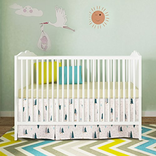 BROLEX Crib Bed Skirt Pleated,Neutral Organic Cotton, Nursery Crib Bedding for Baby Girls Boys,14
