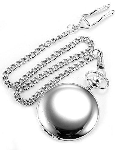 AMPM24 Vintage Silver Men's Women Ladies Quartz Pendent Pocket Watch Clock Chain Gift WPK027 by AMPM24 (Image #3)