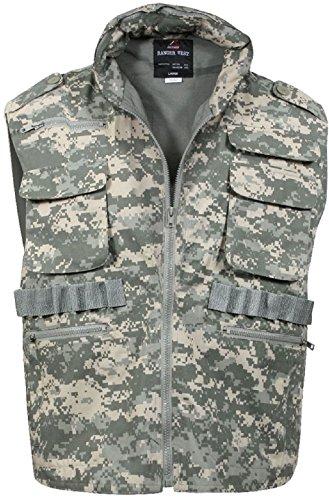 Camouflage Military Ranger Vest - Hooded Tactical Hunting Vest - Camo Ranger Vest