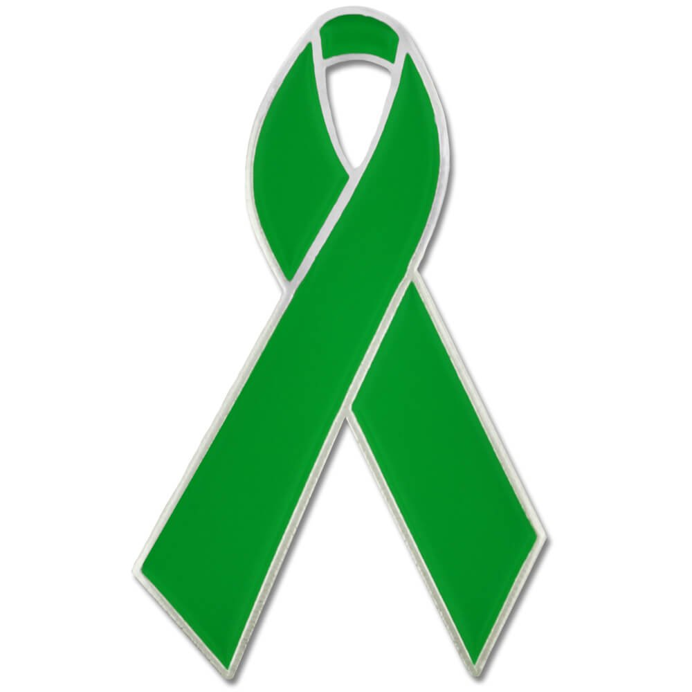 PinMart's Green Awareness Ribbon Enamel Lapel Pin