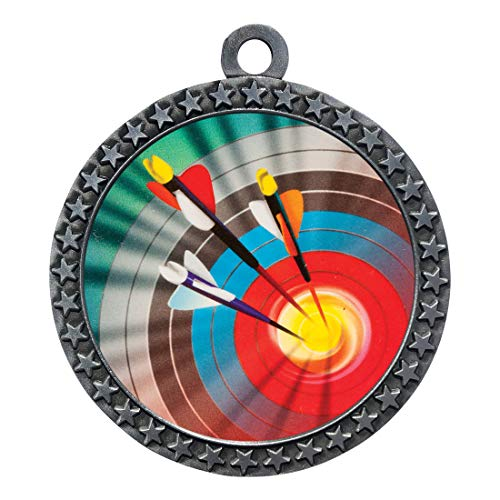 Express Medals Archery Silver Medal Trophy Award with Neck Ribbon STDD212-MY400 25PK ()