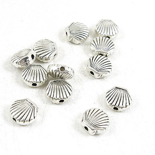 - Qty 40 Pieces Antique Silver Tone Jewelry Making Supply Charms Findings O4NM7 Shell Conch Loose Beads