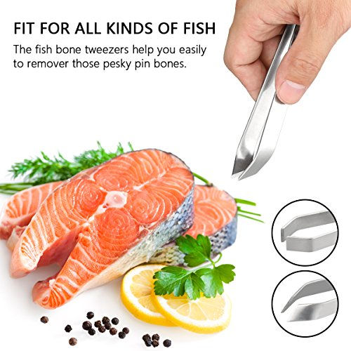 4 Pieces Fish Bone Tweezers Set, Two 4.6'' Stainless Steel Tweezer and Two 5.5'' Tongs for Cooking Food Design styling. by iziusy (Image #4)