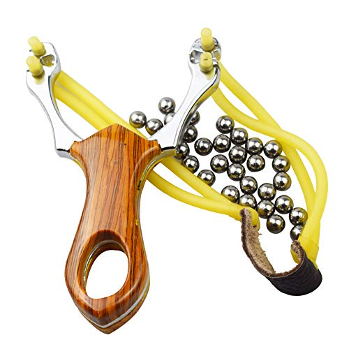 BESTZY Professional Stainless Slingshot Outdoor Catapult Hunting Sling Shot Wood Handle and Rubber Band and 100 Steel Bullets Ammunition