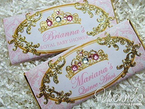Princess Candy Bar Wrappers-Personalized Wrappers for Chocolate Bar Favors-Royal Tiara-Blush Pink+Gold-Baby Shower First 1st Birthday, Sweet 16 Sixteen (SET OF 12) **Chocolate Not Included** ()