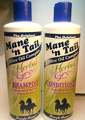 Tail Olive Oil - The Original Mane 'n Tail Olive Oil Complex – Herbal Gro Shampoo + Conditioner – Strengthens & Nourishes – Reduces Breakage – 12 Oz - 2-Pack