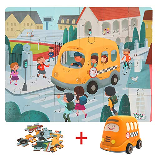 TOP BRIGHT Floor Puzzles for Kids , 24 Pieces Puzzles for Kids Cars , Educational Puzzles for Toddler-School Bus