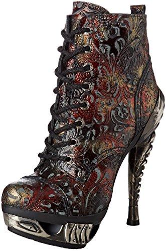 New Rock Bottes Motardes Femme Rouge (Red) tC9nXZ