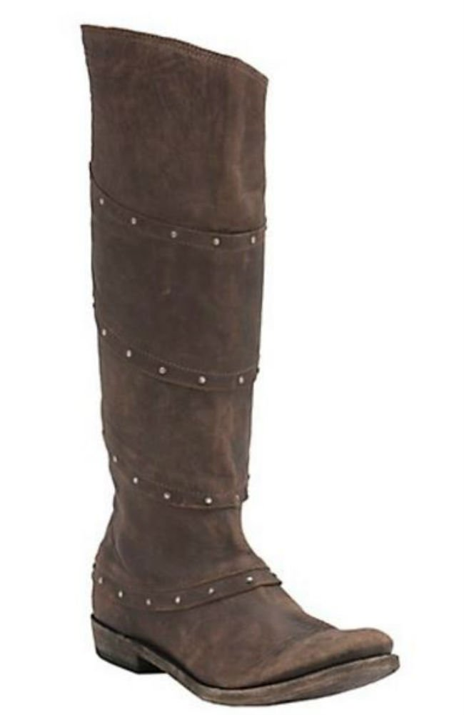 Liberty Black Women's Vintage Brown with Stud Wrap Tall Top Round Toe Western Fashion Boot (8.5)