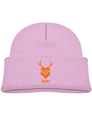 Kids Knitted Beanies Hat Macâ€s Beer Bear+Deer Winter Hat Knitted Skull Cap for Boys Girls Black