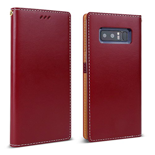 Galaxy Note 8 Case (2017), DesignSkin [CLASSIC BASIC]: Premium 100% HANDMADE GENUINE LEATHER Wallet Flip Folio Unique Style Full Protective Cover Card Slot Cash Pocket Storage Strap Hole (Burgundy)