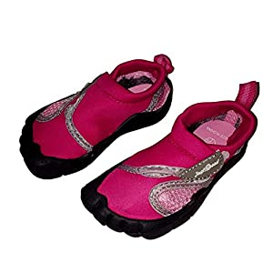 Toddler Walkers Toe Reinforced Aquatic Water Shoes with Velcro Closure (US Toddler 7, Fuschia and Light Pink)