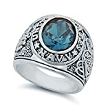 Men's Rhodium Plated Oval-Cut Blue Cubic Zirconia US - Best Reviews Guide