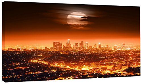 Design Art 1 Piece Dramatic Full Moon over Los Angeles Cityscape Canvas print, 60x28'', Red by Design Art