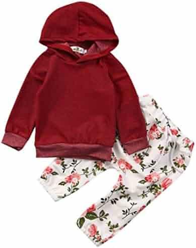 e67cbc8820fa Fineser(TM Newborn Infant Baby Boy Girl Solid Hoodie Sweatshirt Tops+Floral  Print Pants