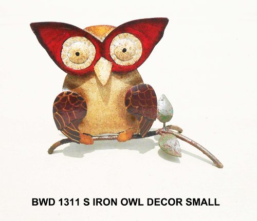 D-Art Collection Iron Table Decor, Small, Owl -