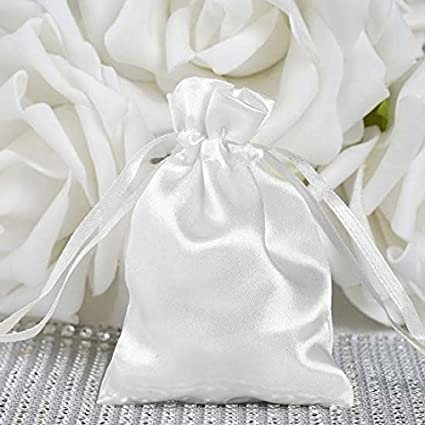 457d16fce928 Efavormart 12PCS White Satin Gift Bag Drawstring Pouch Wedding Favors  Bridal Shower Candy Jewelry Bags - 3