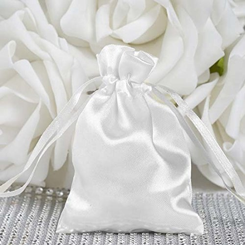 (Efavormart 60PCS White Satin Gift Bag Drawstring Pouch Wedding Favors Bridal Shower Candy Jewelry Bags - 3