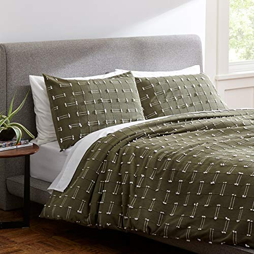 Rivet Global Textured 100% Cotton Duvet Comforter Cover Set, King, Olive