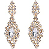 BriLove Women's Bohemian Crystal Wedding Bridal Chandelier Filigree Teardrop Hollow Out Dangle Earrings