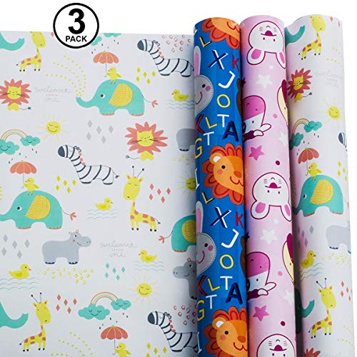 Wrapping Paper - Baby Shower Wrapping Paper - Gift Wrapping Paper Kids – Baby Wrapping Paper - Premium Wrapping Paper – 3 Rolls - 2.5 ft x 10 ft per Roll, Includes 3 Bows, 2 Ribbons -