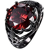paweena Vintage Round Cut Red Ruby Wedding Ring Womens 10KT Black Gold Filled Size 5-12 (8)