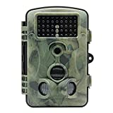 Mini Hunting Camera Wosports® 12 MP 1080P HD 120 degree Wide Angle IP54 Waterproof Hunting Trail Game Camera Surveillance Camera with 42 Pcs IR LEDs for Night Vision, Camo