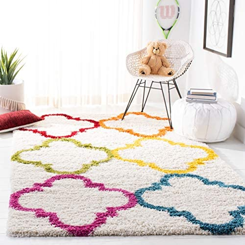 Safavieh Kids Shag Collection SGK563A Ivory and Multi Area Rug 8 x 10