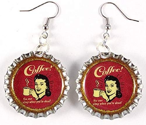 Retro Coffee Bottle Cap Earrings