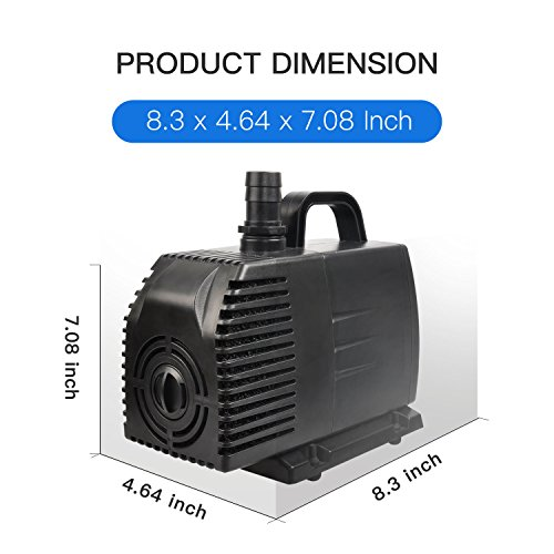 Simple Deluxe 1056 GPH UL Listed Submersible Pump 15' Cord, Water Pump Fish Tank, Hydroponics, Aquaponics, Fountains, Ponds, Statuary, Aquariums