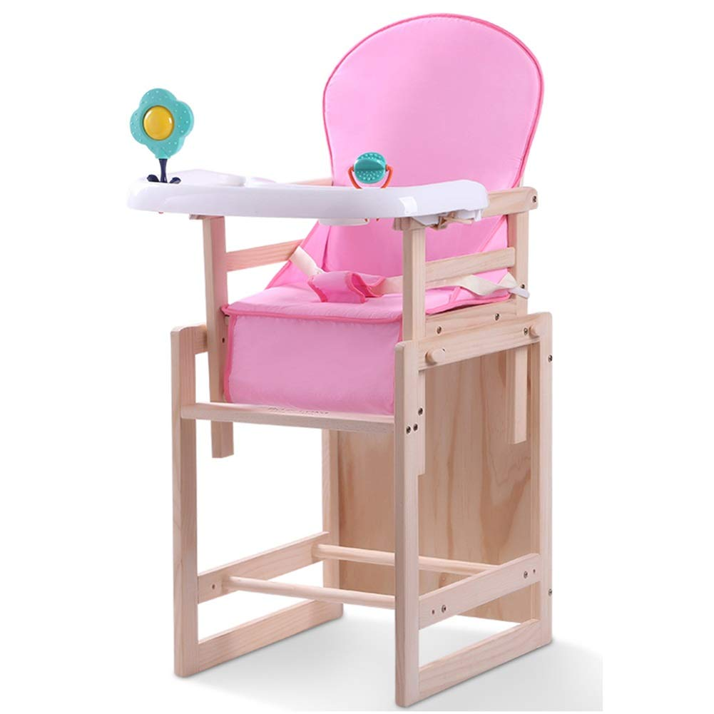 Standard powder Large ZHAOYONGLI Baby Highchairs Dining Table Chairs Multifunctional Solid Wood Portable Adjustable Anti-Dumping Creative Solid Durable Long Lasting (color   Bare Chair, Size   Large)