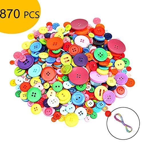 870 PCS Crafts Assorted Buttons Mixed Color Resin Round Craft for Kid's Button Painting