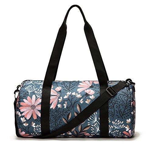Jadyn B 19'' Barrel Women's Duffel Bag, Navy Floral by Jadyn B (Image #4)