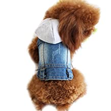 Cute Dog Pet Cat Denim Jeans Vest Shirt Coat Jacket Cool Dog Puppy Coat Hoodie Clothing For Pet Chihuahua Small Dog Clothes (XS, Blue)