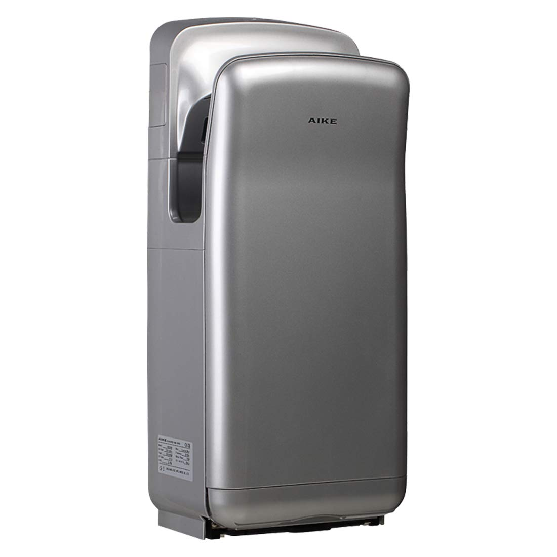 AIKE AK2005H Premium ABS Commercial High Speed Jet Hand Dryer with HEPA Filter 1850W Silver by AIKE