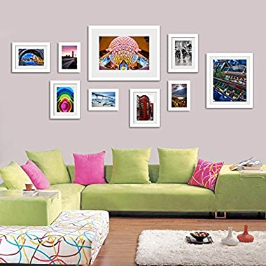 Wall Hanging Art Home Decor Modern Gallery 9-piece Wood Multi-piece Photo Frame Set . White D4620