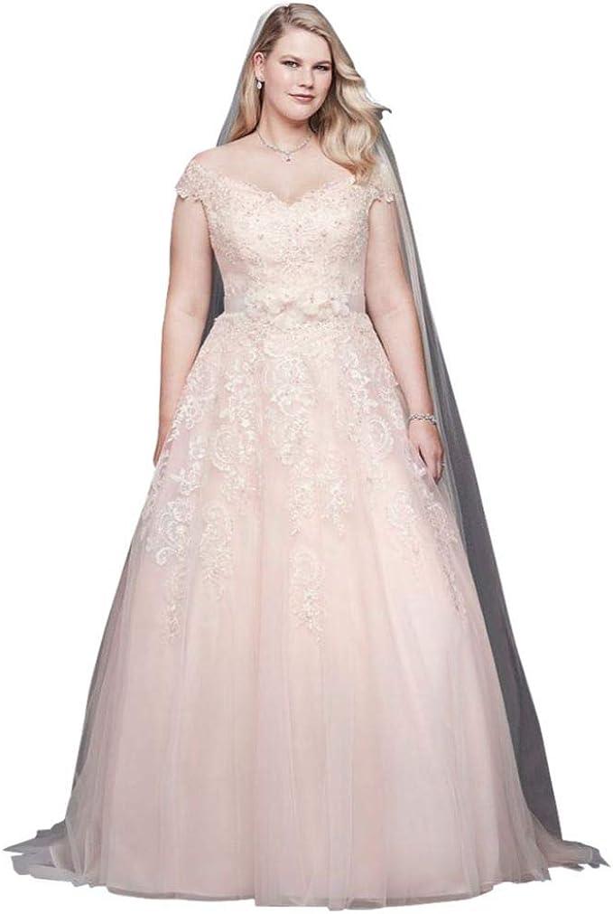 David S Bridal Off The Shoulder Applique Plus Size Wedding Dress